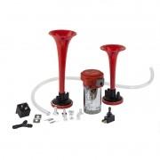 Buzina 2 Cornetas Vermelha 24v Com Compressor