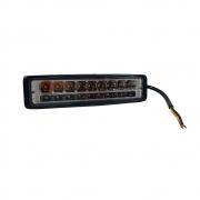FAROL DE MILHA RETANGULAR RAY X LT2028B/AM FAROL 18W+ FLASH/PISCA  C/ 18 LEDS (9 BRANCOS + 9 AMBAR) 10~80V (160X50X40MM)