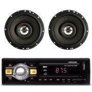 "Kit Flash 3 Hurricane Rádio Hr-412 + 2 Alto Falantes 6"" 100w"