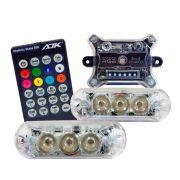 Kit Strobo AJK RGB Rítmico com 2 Faróis e Controle Remoto