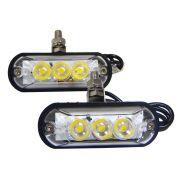 Par de Faróis Articulados 3 LEDs Ajk Linha Strobo Pro Branco