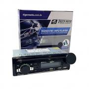 RÁDIO MP3 C/ SUPORTE SMARTPHONE BLUETOOTH CONTROLE CARREGADOR USB 45WX4 - TIGER TG-0403.011 / 0403011