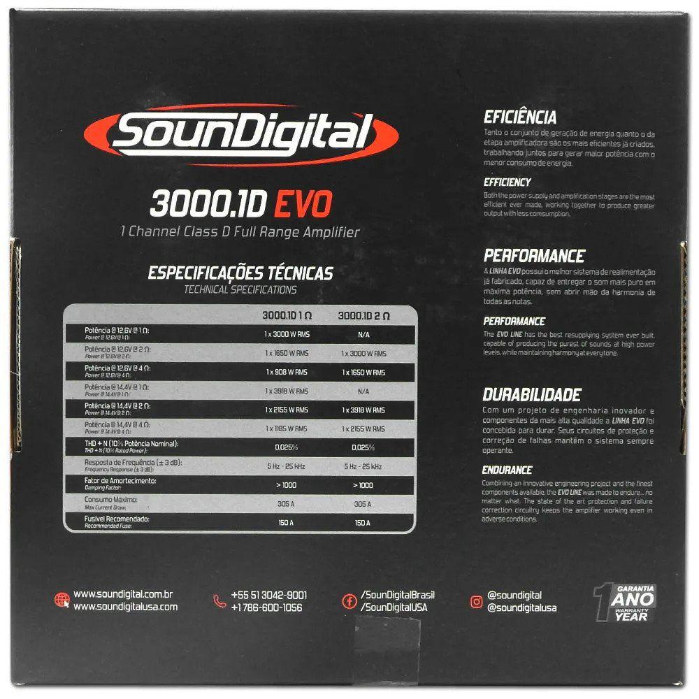 Amplificador Digital Soundigital Sd3000.1d Evo2 3000w - 2 Ohms