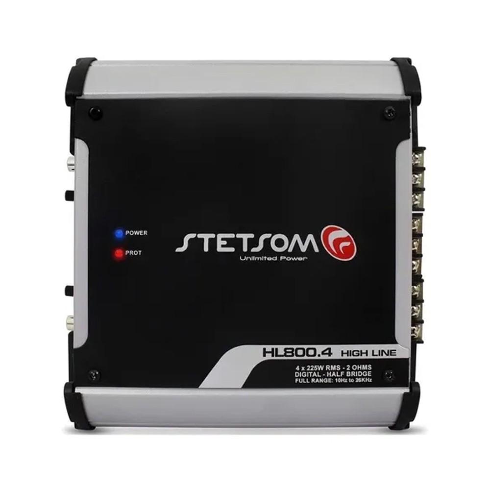 AMPLIFICADOR DIGITAL STETSOM HL800.4 C/ CROSSOVER 900W RMS (4 CANAIS) - 4 X 225W RMS (2 OHMS) - HL 800.4