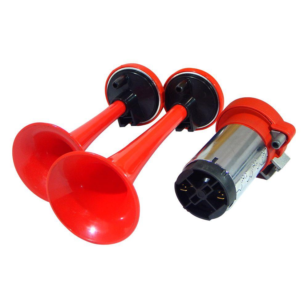 Buzina a AR 2 Cornetas vermelhas Vetor 12V completa VT042
