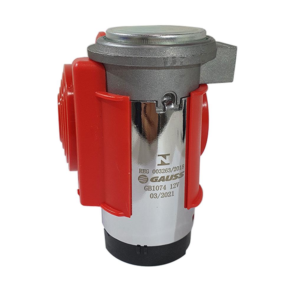 BUZINA A AR GAUSS GB1074 COMPACTA ELETROPNEUMÁTICA C/ COMPRESSOR ELÉTRICO 12V - (C/ 2 CORNETAS)