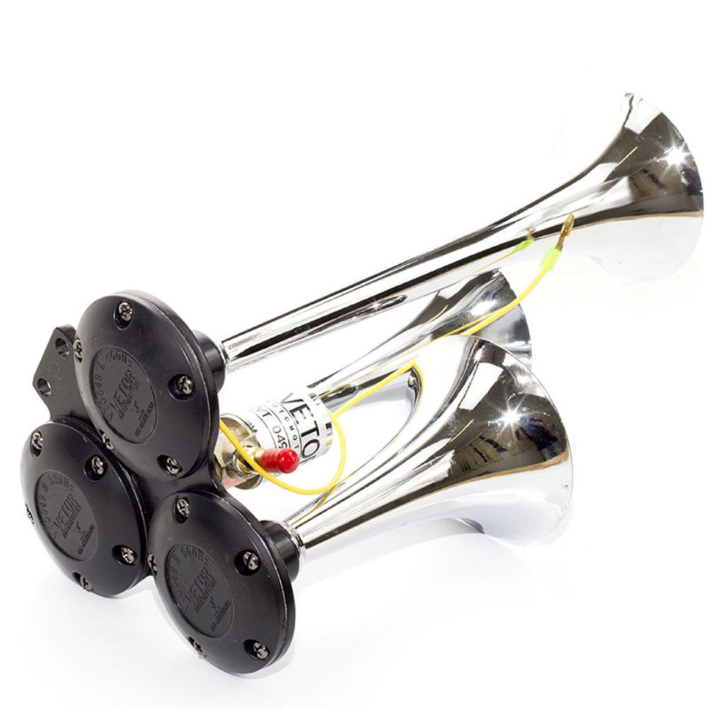 Buzina Vetor Vt049 C/3 Cornetas Metal Cromado Válvula 12/24v