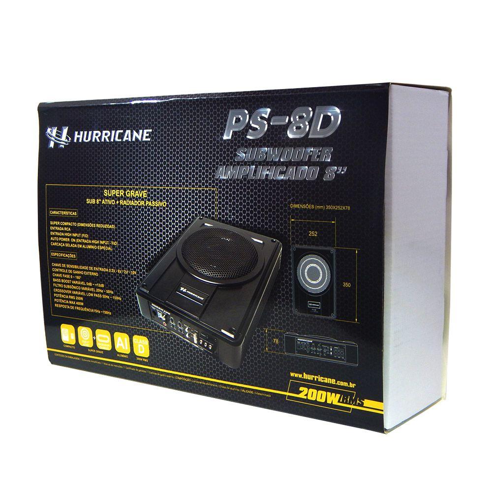 "Caixa Slim Subwoofer Amplificada Hurricane 8"" PS8D 200W RMS"