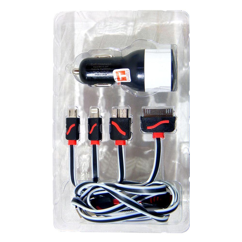 Carregador Veicular USB 5 Em 1 Exbom Para Tomada 12 ou 24V