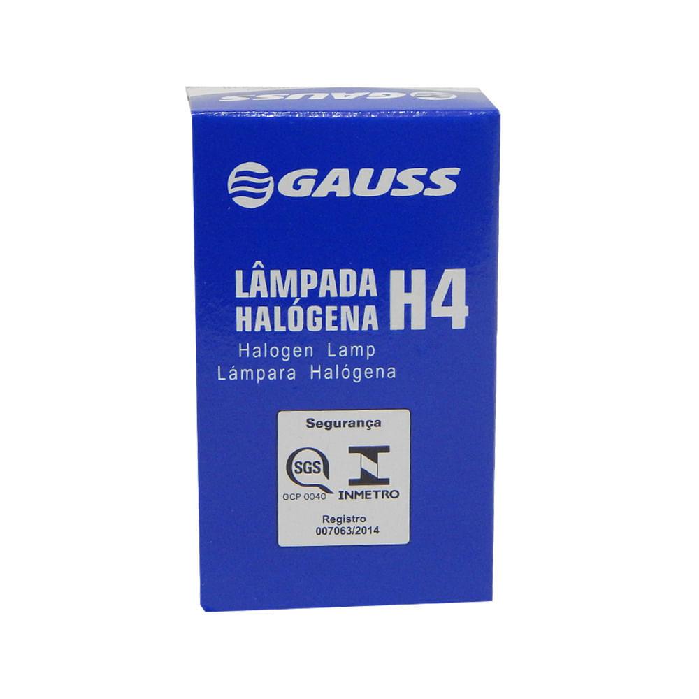 Combo c/ 10 Lâmpadas Automotivas Gauss H4 60/55w Halógena 12v. - Inmetro H-4 - KIT C/10 GL11H4