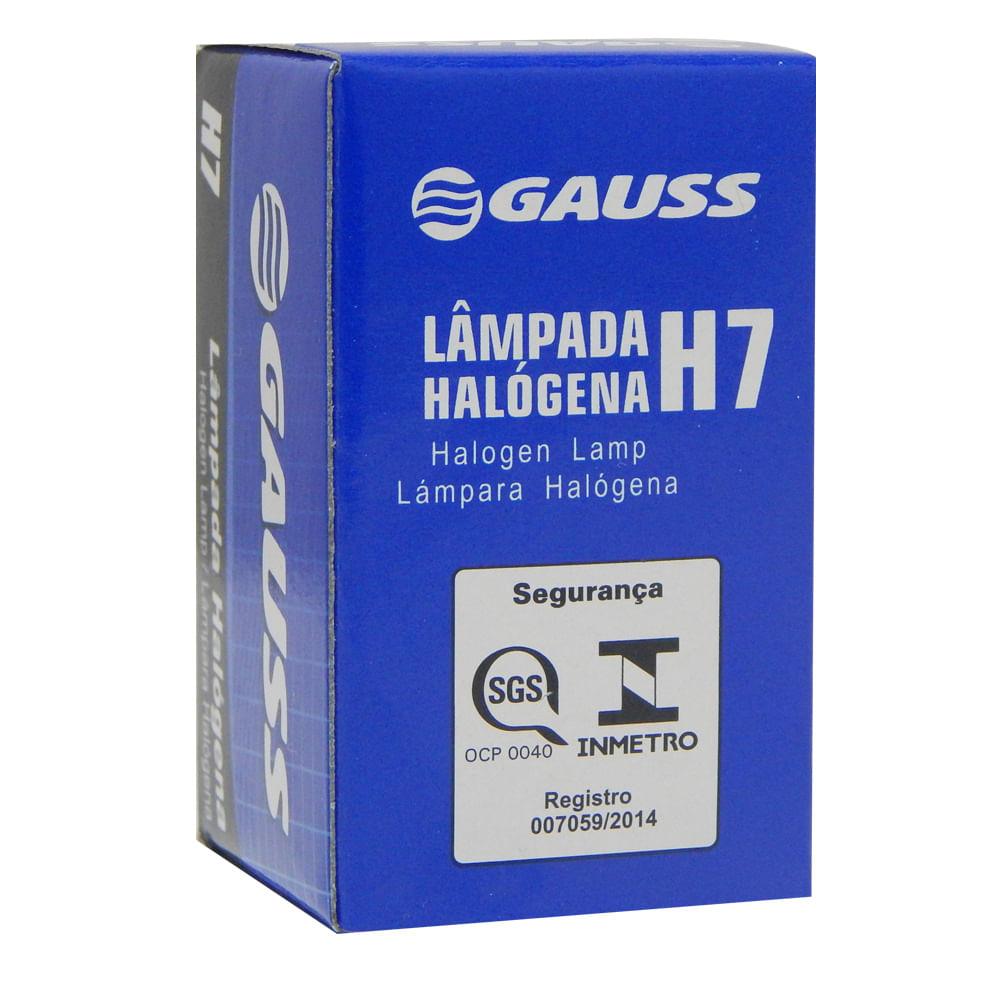 Combo c/ 10 Lâmpadas Automotivas Gauss H7 55w Halógena 12v. - Inmetro H-7 - KIT C/10 H7 - GL19