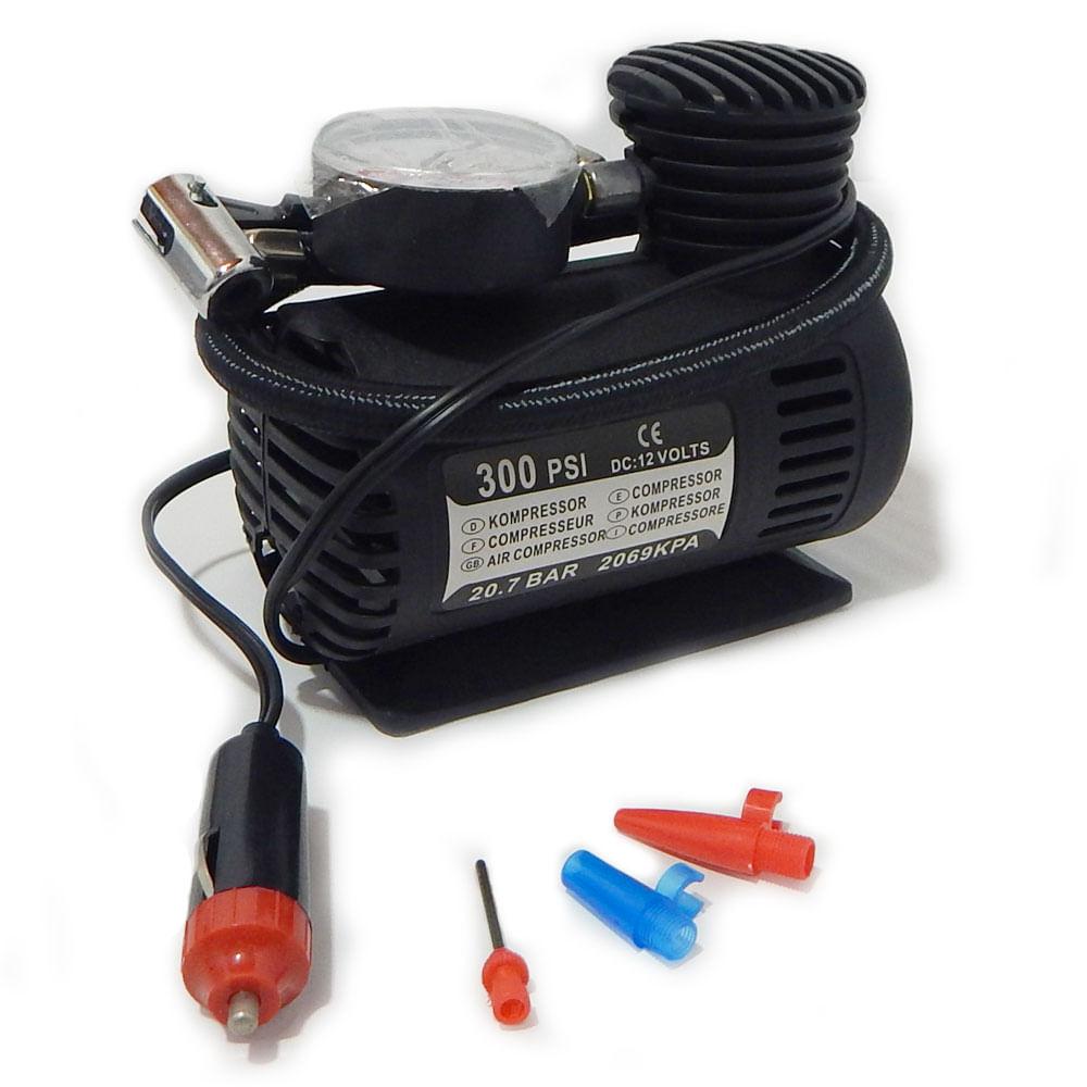 Compressor de Ar Automotivo TechOne - c/ 3 Ponteiras 12V 300 PSI - MINI COMPRESSOR - B-2728