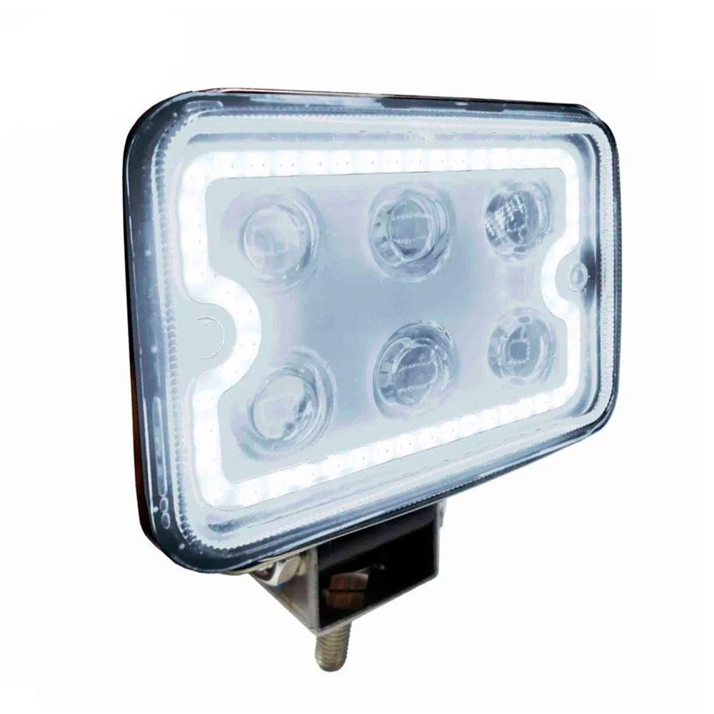 Farol De Led Com Aro Luminoso Dni 06 Leds Branco 18w Dni4182