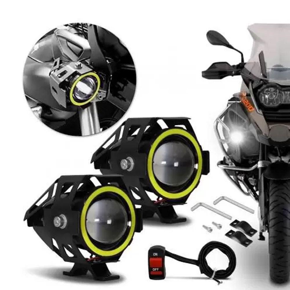 FAROL DE LED RAY X ANGEL EYE LTM1007 SUPER SPOT 15W C/AURÉOLA LED BRANCO/TECLA ON-OFF (12~65V) MOTO / JEEP / BARCO - 241