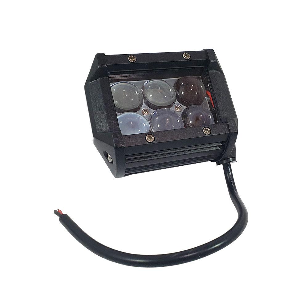 FAROL DE MILHA RETANGULAR RAY X LTB2418 C/ 6 MEGA LEDS 18W / LENTES PROJETORAS / SUPORTE / 10~60V (98X78X65MM) -UNITÁRIO