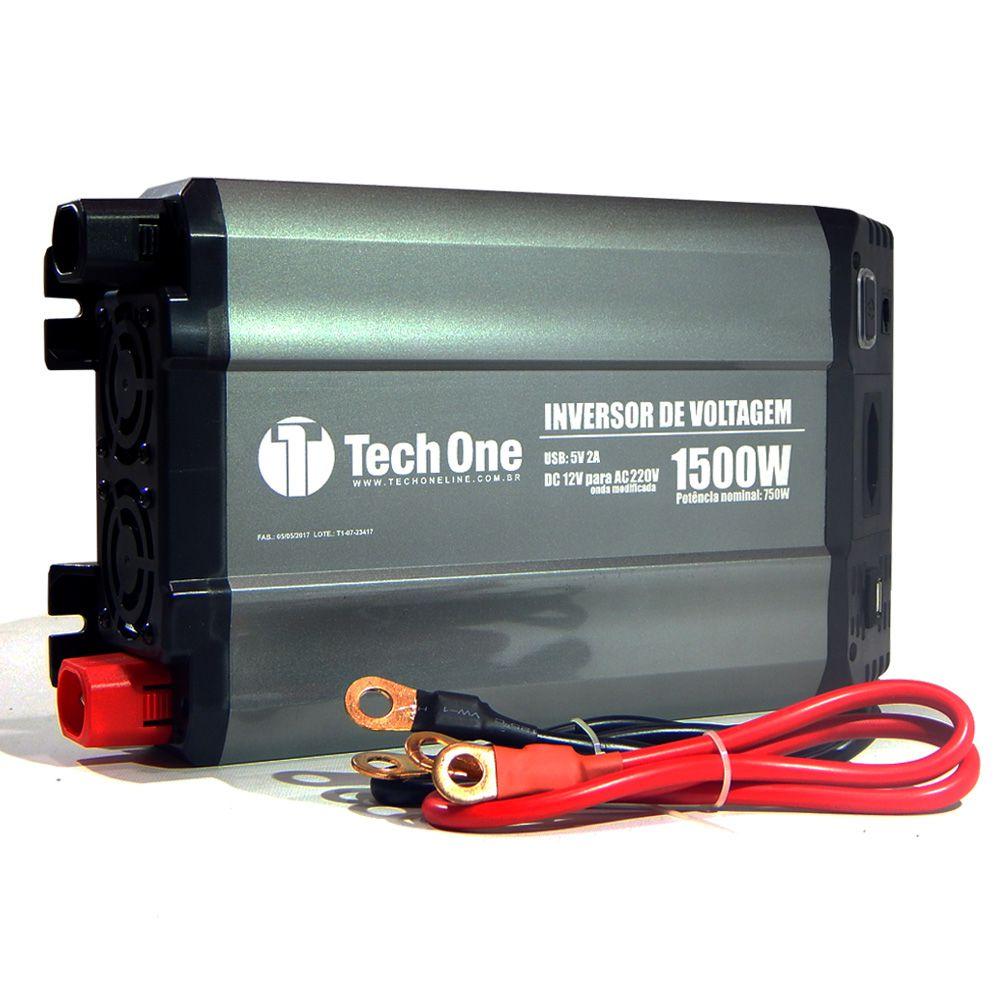 Inversor de Potência Tech One 1500W 12V para 220V - Tomada – USB