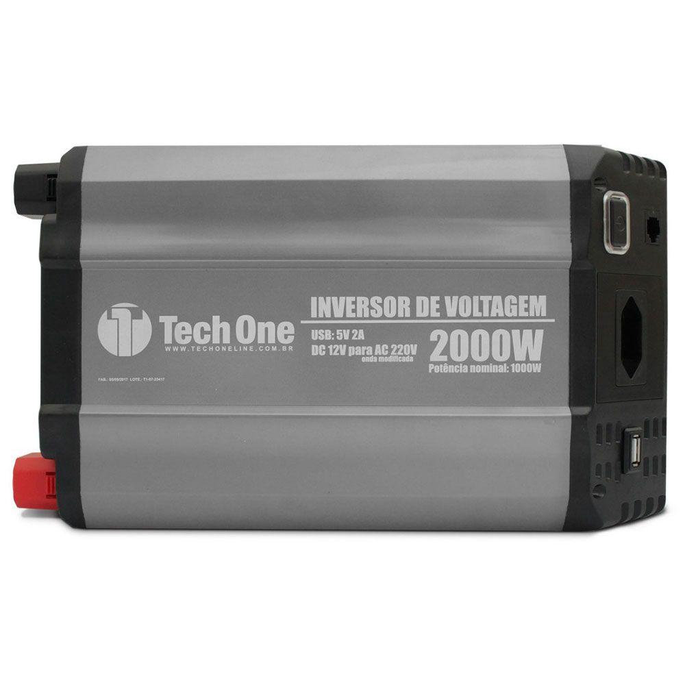 Inversor de Potência Tech One 2000W 12V para 220V - Tomada – USB