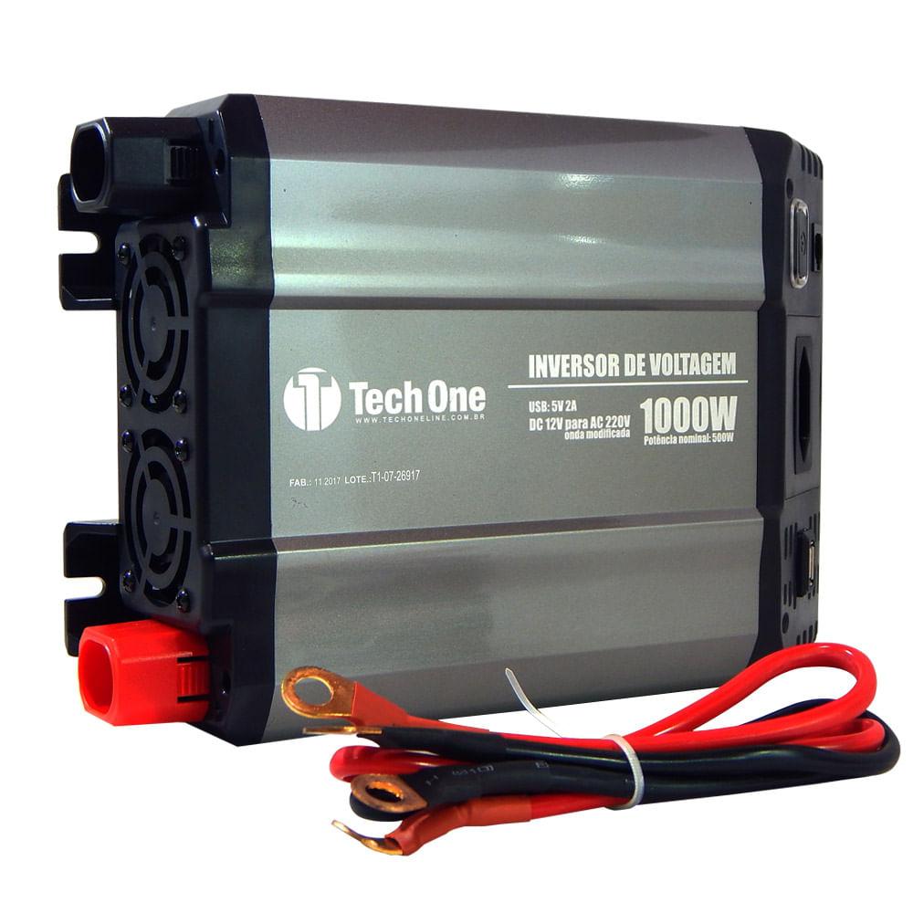 Inversor de Potência TechOne 1000W 12V para 220V - Tomada ? USB - B-2196