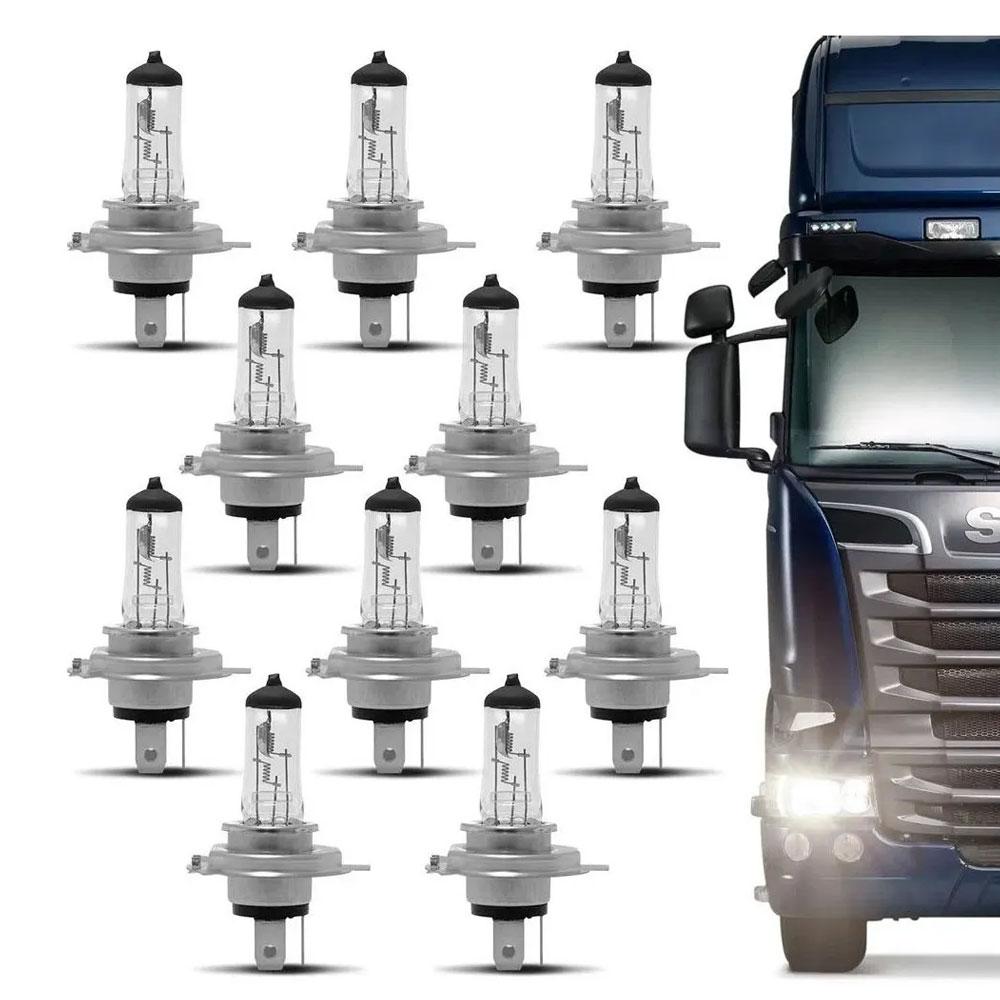 KIT C/ 10 LAMPADAS-24V.BIODO MODERNA C/TRIPE H-4 (75/70W) (GAUSS-GL46 H4) - KIT 10 H4 24V GAUSS
