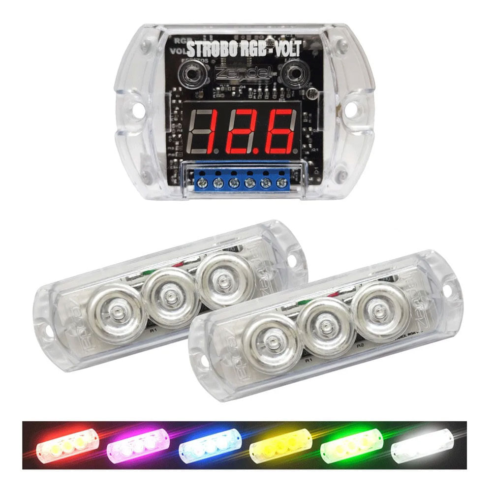 KIT C/ 2  FARÓIS STROBO LED RGB ZENDEL C/ VOLTÍMETRO NA CENTRAL + 12 EFEITOS - ZENDEL RGB-VOLT - 2289 ZD-SRV