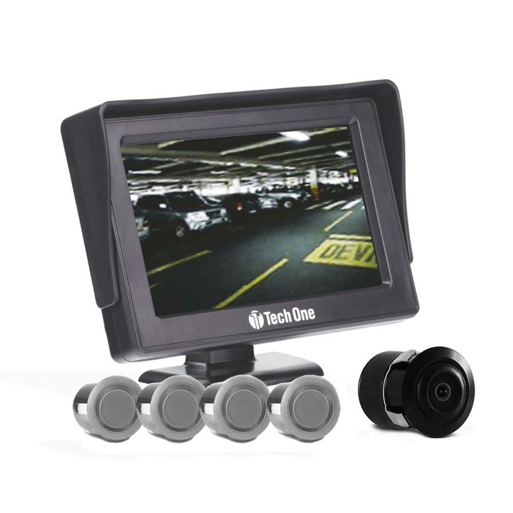 Kit Estacionamento Tech One – Sensores + Tela + Câmera de Ré – Prata