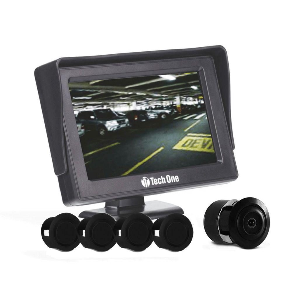 Kit Estacionamento Tech One – Sensores + Tela + Câmera de Ré – Preto