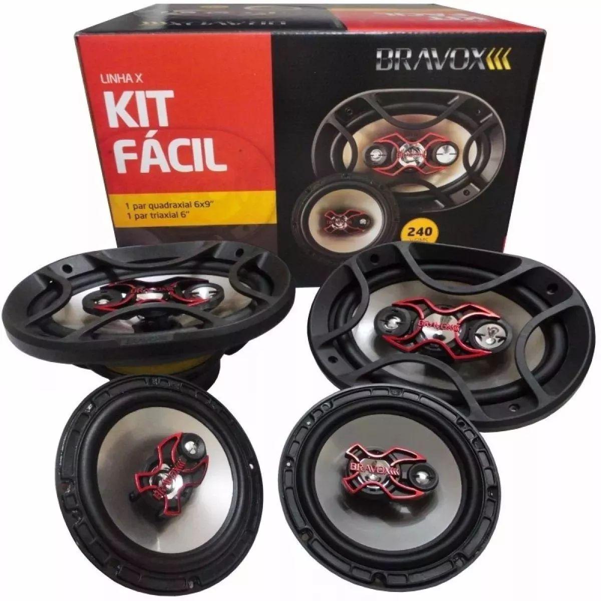 Kit Fácil Linha X Bravox B4X69 X + B3X60 X - 100W + 140W RMS