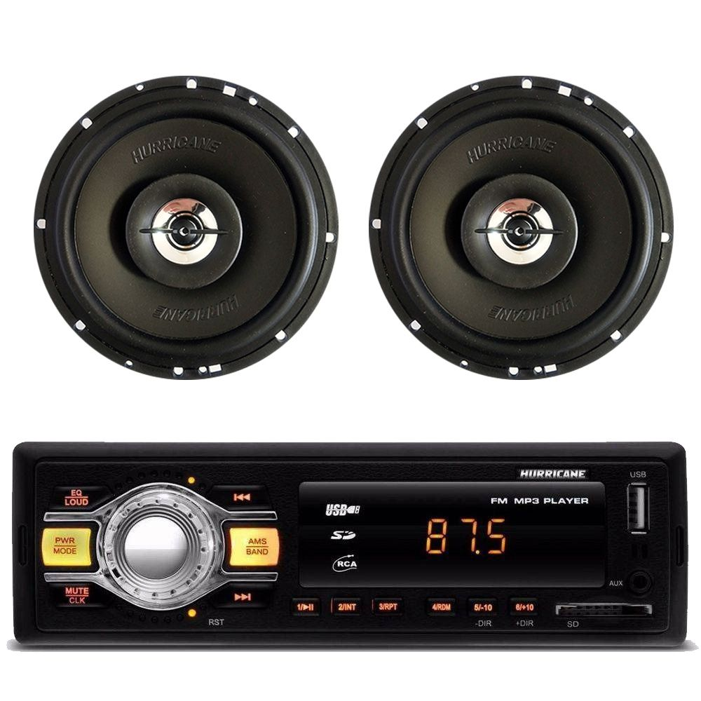 "Kit Flash 3 Hurricane Rádio Hr-412 + 2 Alto Falantes 6"" 100w"