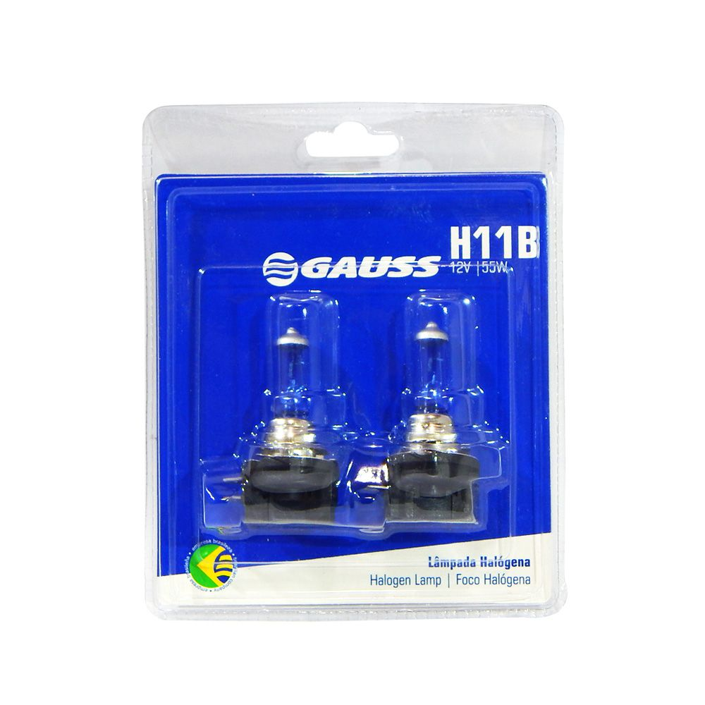 Kit Lâmpadas Automotivas Gauss Super Branca H11B 12V 55W