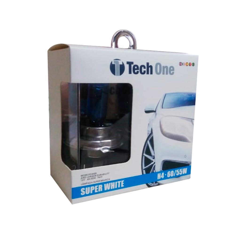 Kit Lâmpadas Super Brancas Tech One H4 8500K - Efeito Xenon