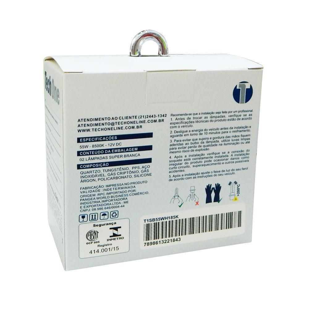 KIT Lâmpadas Super Brancas TechOne H1 8500K (PAR) - Efeito Xenon - Z-0775 / 2168 - H1 8500K