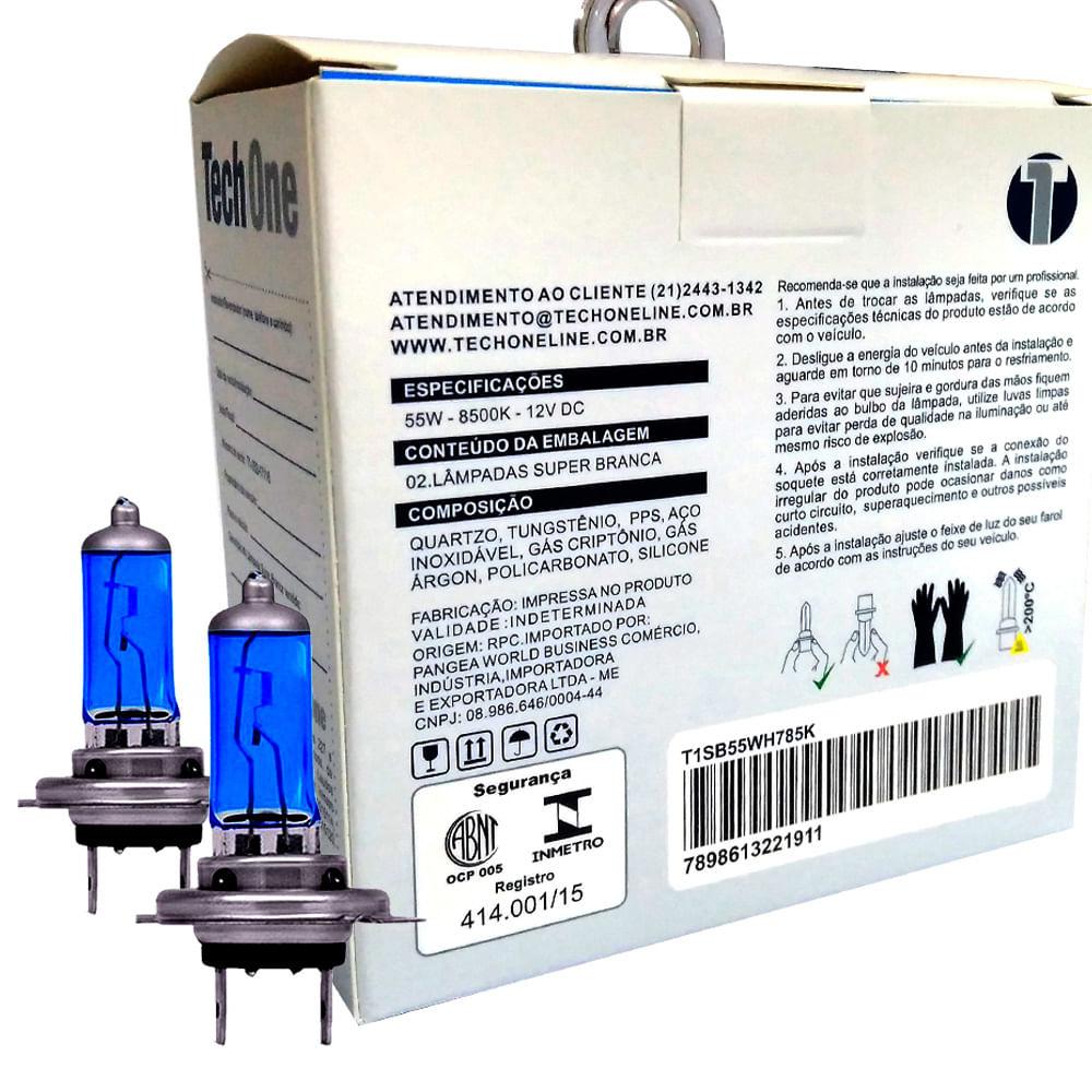 Kit Lâmpadas Super Brancas TechOne H7 8500K - Efeito Xenon - Z-0778 / 2191 - H7 8500K