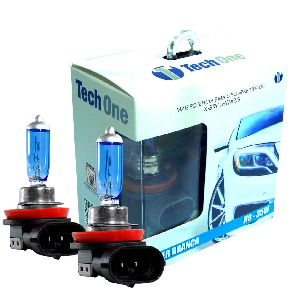 Kit Lâmpadas Super Brancas TechOne H8 8500K - Efeito Xenon - T1SB35WH885K - H8 8500K