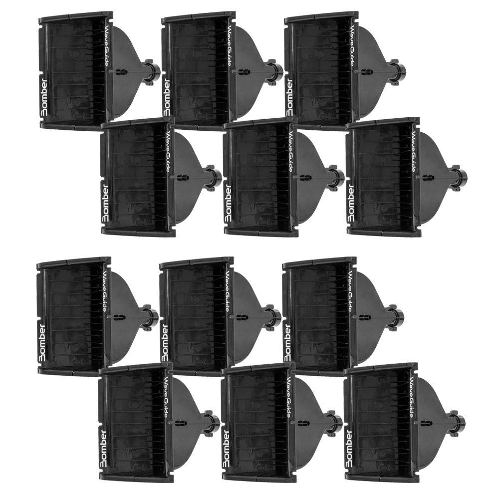Kit Master c 12 Cornetas Guia de Ondas Bomber Wave Guide Plástica - Preta
