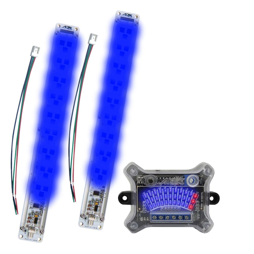 KIT Mini VU AJK Sound: 2 Réguas Azul c/ 33 LEDs + Central