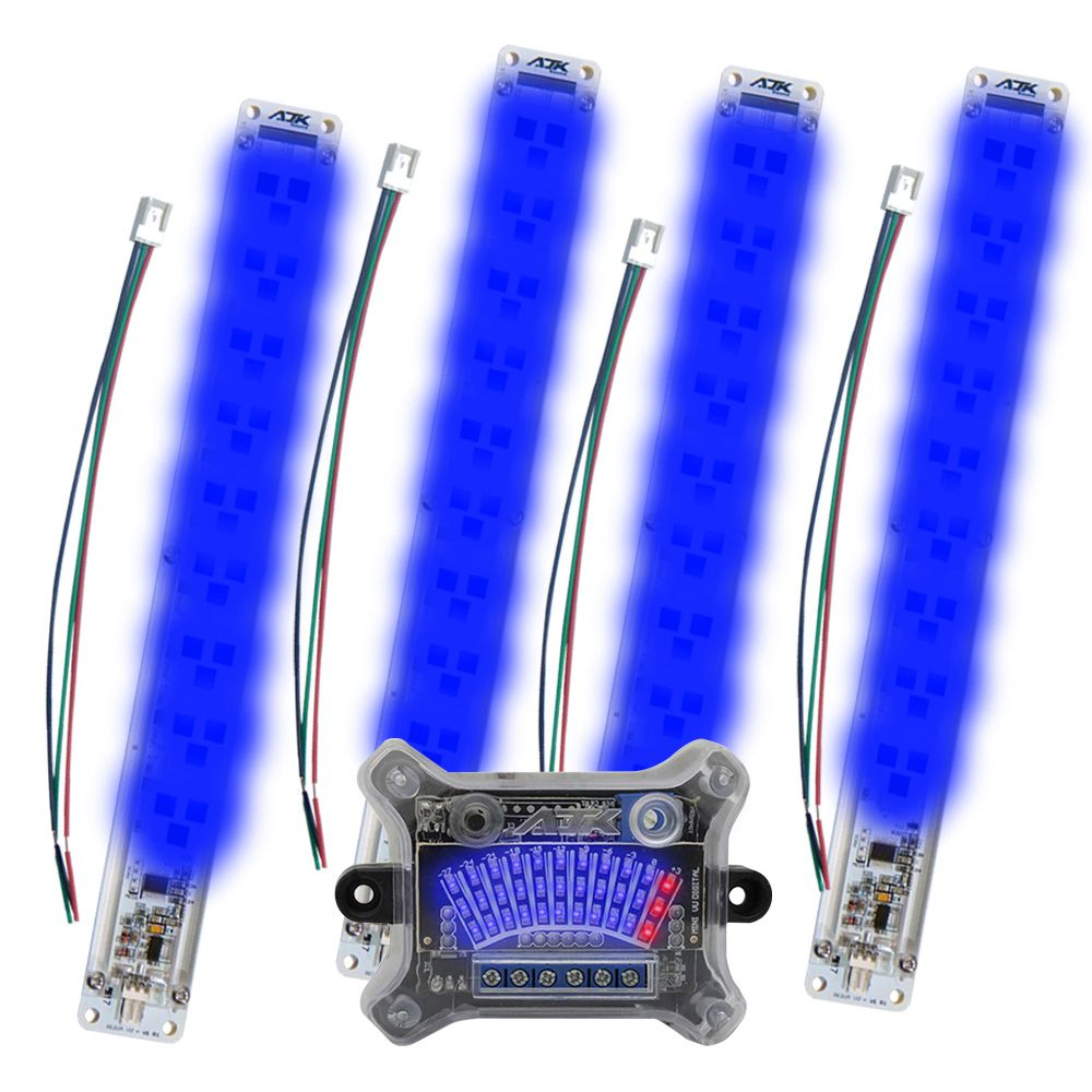 KIT Mini VU AJK Sound: 4 Réguas Azuis c/ 33 LEDs + Central