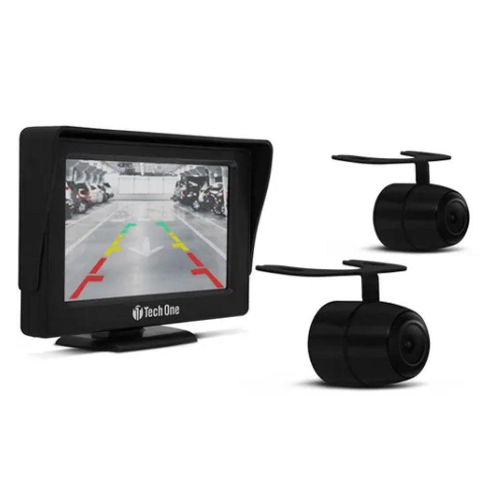 "Kit Monitor 4.3"" + Câmeras de Ré e Frontal Techone"