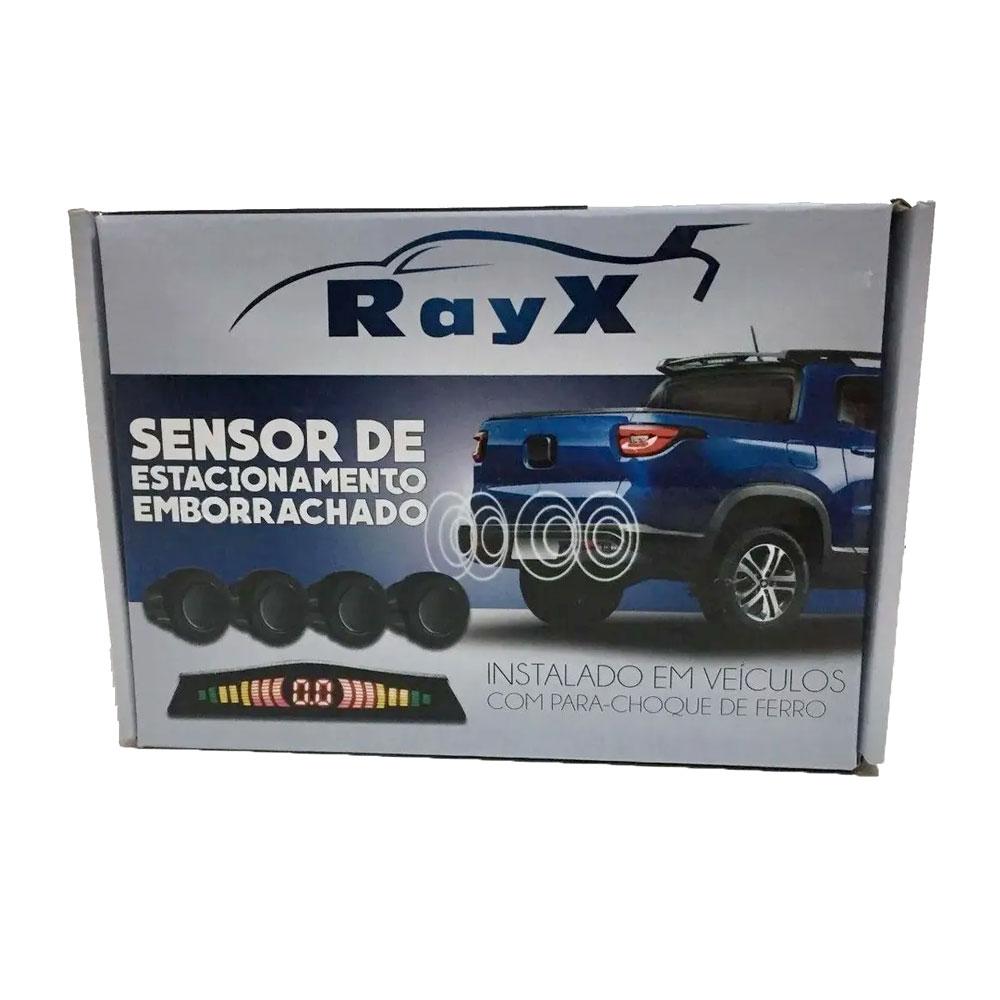 KIT SENSOR ESTACIONAMENTO RAY X - EMBORRACHADO (PRETO) - 4 SENSORES 20,00MM / AVISO SONORO-VISUAL - PARA-CHOQUE DE METAL