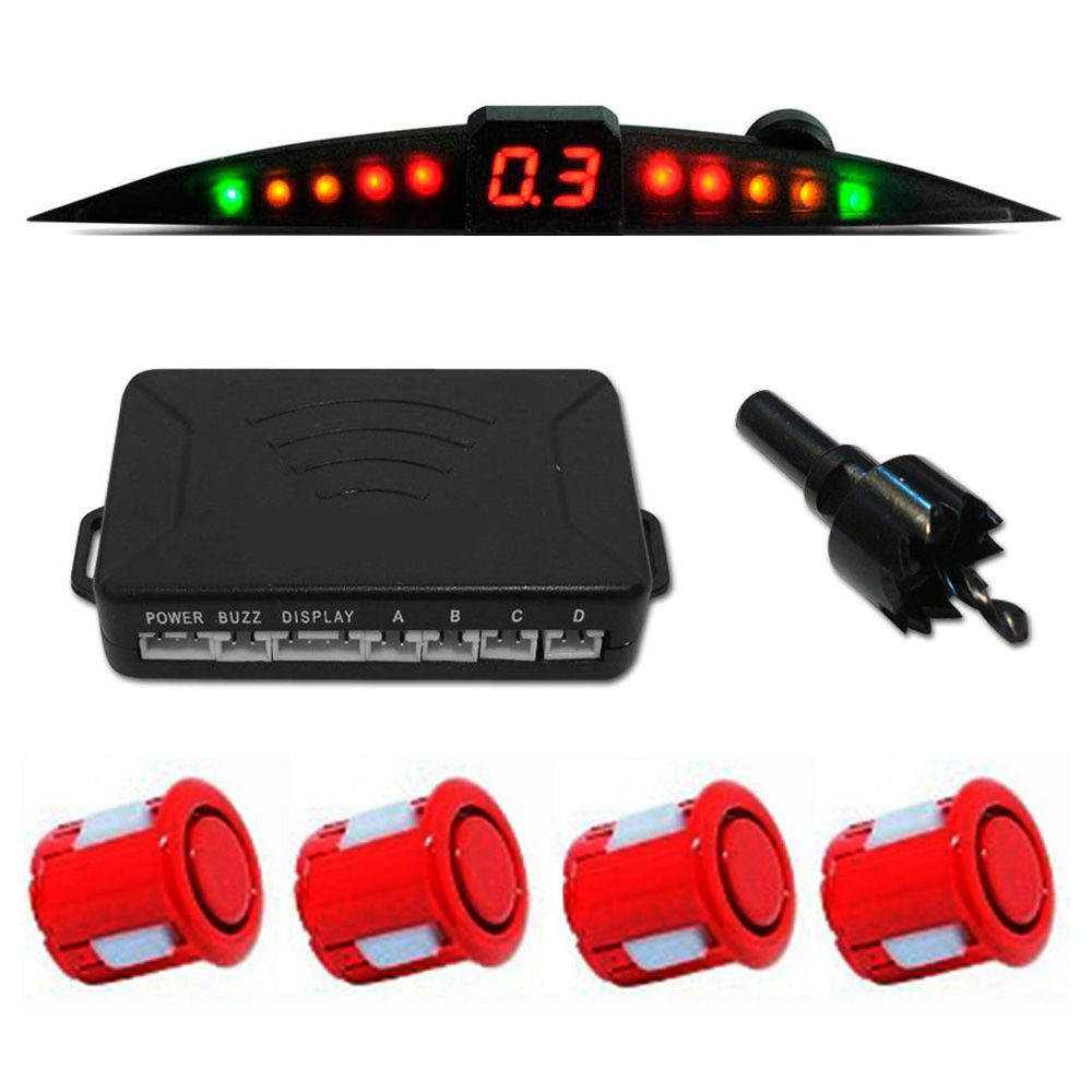 Kit Sensor Ré Estacionamento Prime Tech One 4 Sensores - Vermelho