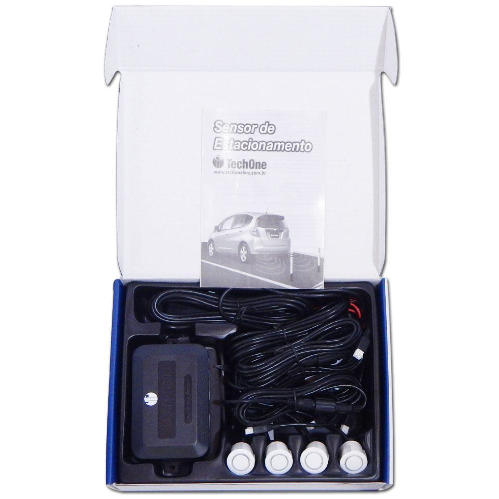 Kit Sensor Ré Estacionamento Techone Prime 4 Pontos - Branco - 2243 - PRIME BRANCO
