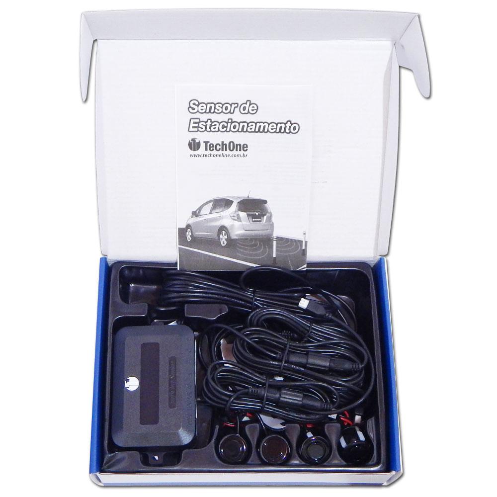 Kit Sensor Ré Estacionamento Techone Prime 4 Pontos - Preto - B-2248 - PRIME PRETO BRILHO