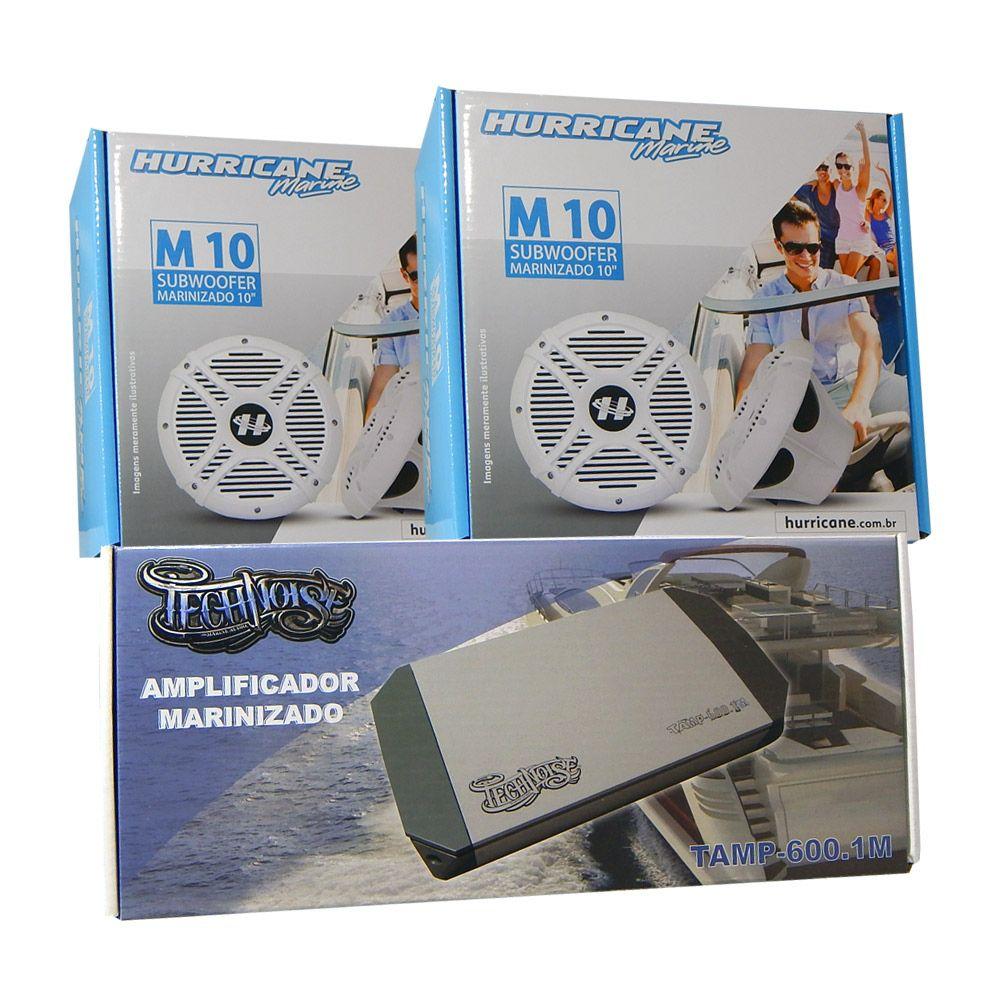 Kit Som Náutico 3: 2 Subwoofer Hurricane +1 Módulo Technoise