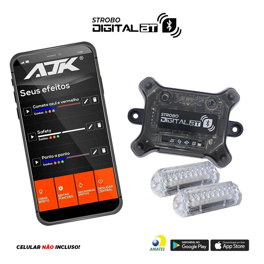 Kit Strobo Ajk Digital Bluetooth  Central  c/ 2 Faróis RGB
