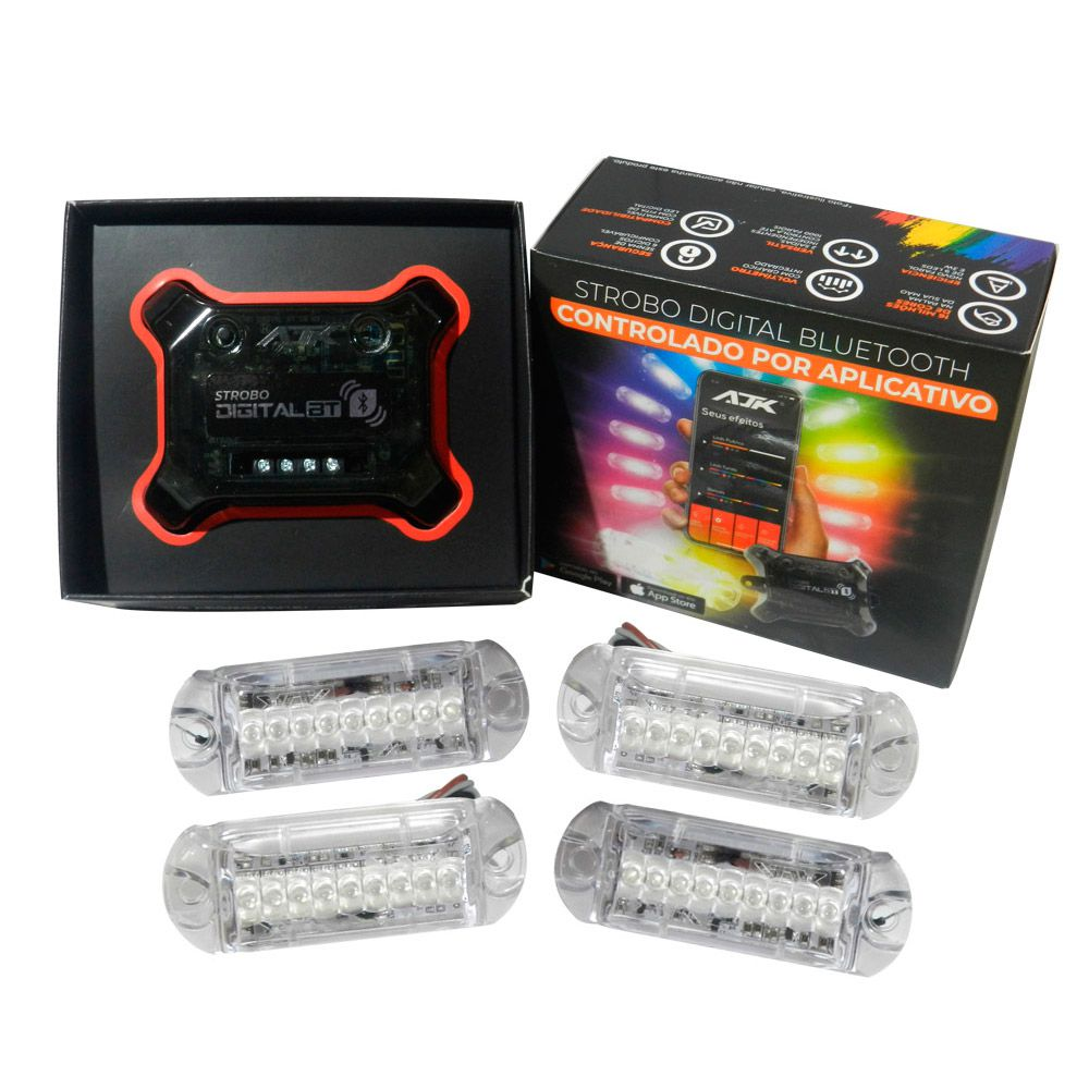 Kit Strobo Ajk Digital Bluetooth  Central  c/ 4 Faróis RGB