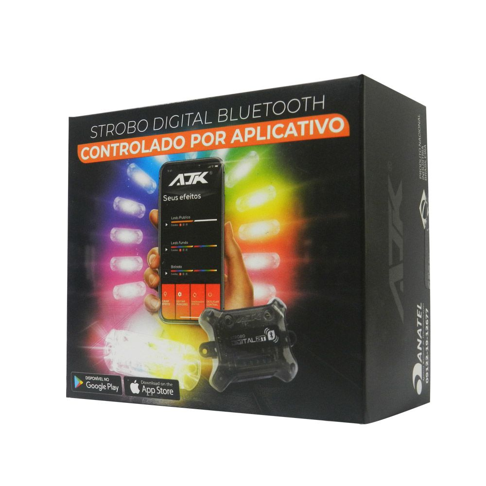 Kit Strobo Ajk Digital Bluetooth  Central  c/ 4 Faróis RGB