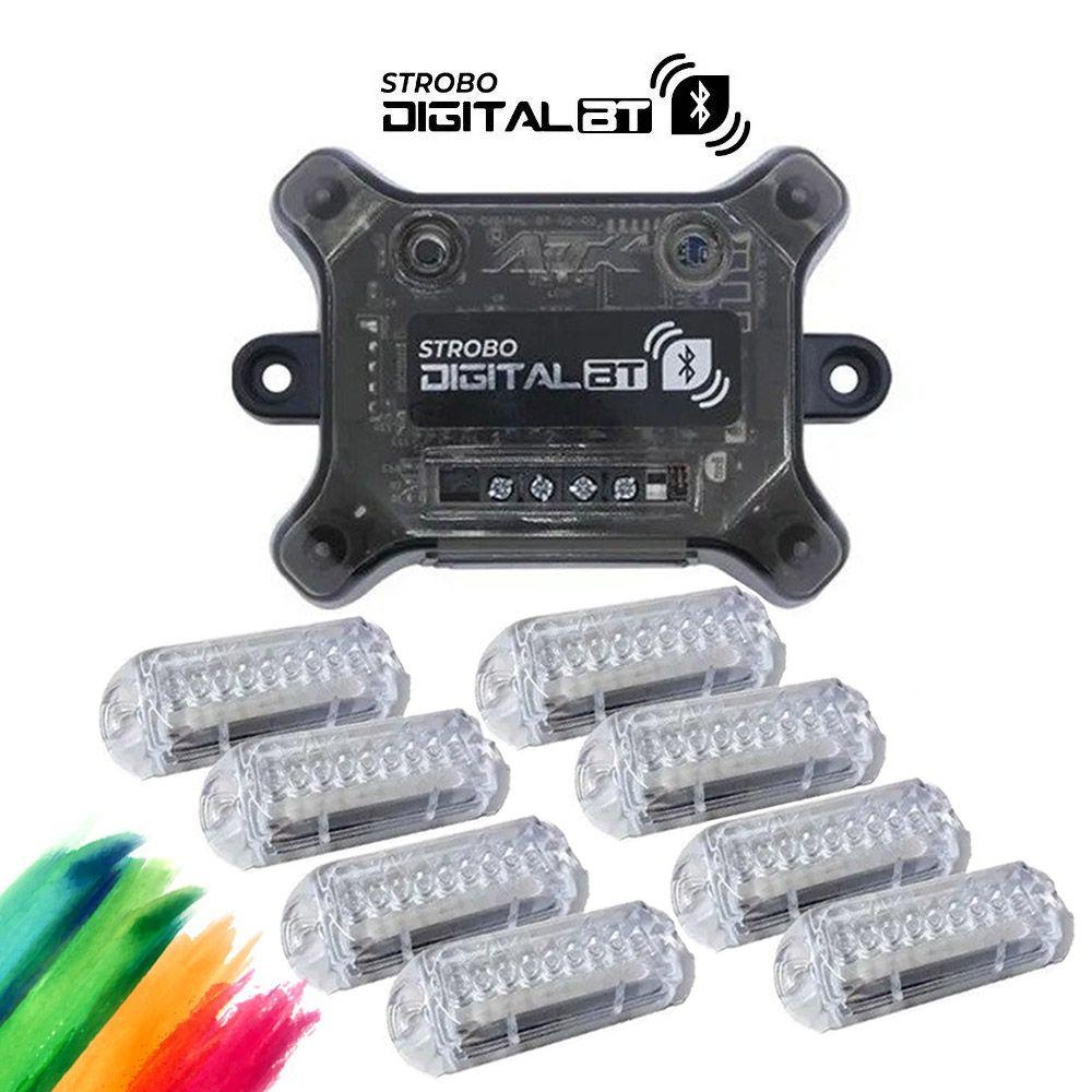 Kit Strobo Ajk Digital Bluetooth Central c/ 8 Faróis RGB