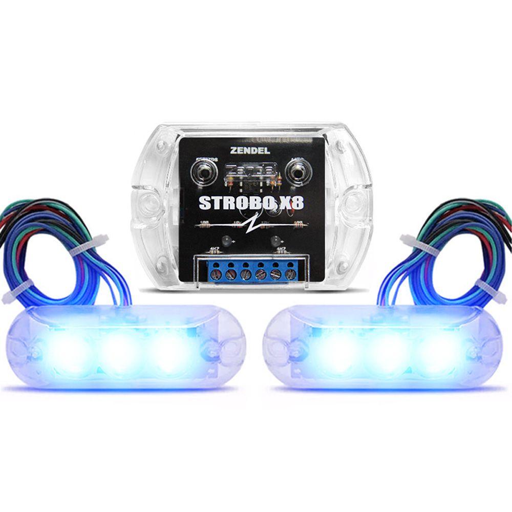 Kit Strobo Zendel X8 Azul c/ 2 Faróis de LED