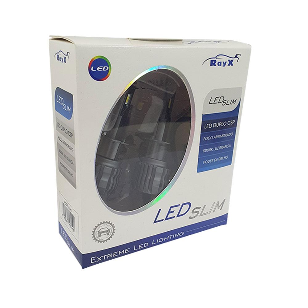 KIT SUPER LED SLIM DUPLO CSP H1 RAY X - 11.000 LÚMENS (PAR) / FOCO BRANCO 6000K / COMPACTO / CANCELLER - CSLIM-H1