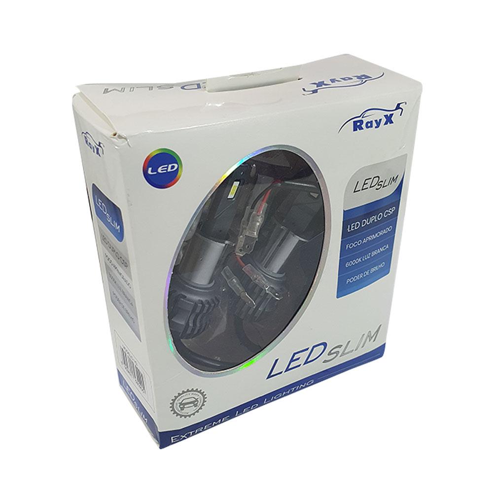 KIT SUPER LED SLIM DUPLO CSP H3 RAY X - 11.000 LÚMENS (PAR) / FOCO BRANCO 6000K / COMPACTO / CANCELLER - CSLIM-H3