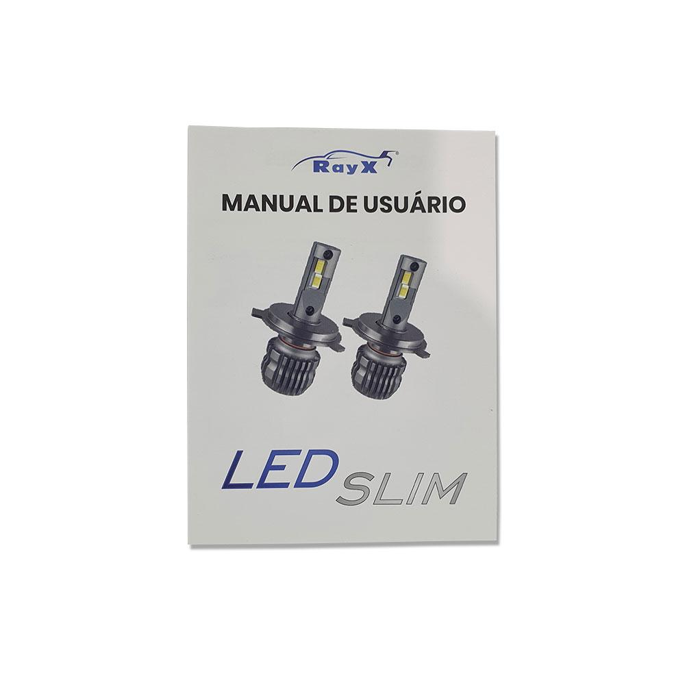 KIT SUPER LED SLIM DUPLO CSP H4 RAY X - 11.000 LÚMENS (PAR) / FOCO BRANCO 6000K / COMPACTO / CANCELLER - CSLIM-H4